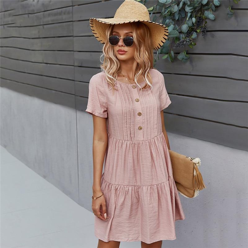 ربيع جديد الصلبة فستان قصير المرأة 2021 عادية س الرقبة زر فستان صيفي السيدات فضفاضة قصيرة الأكمام فساتين خط