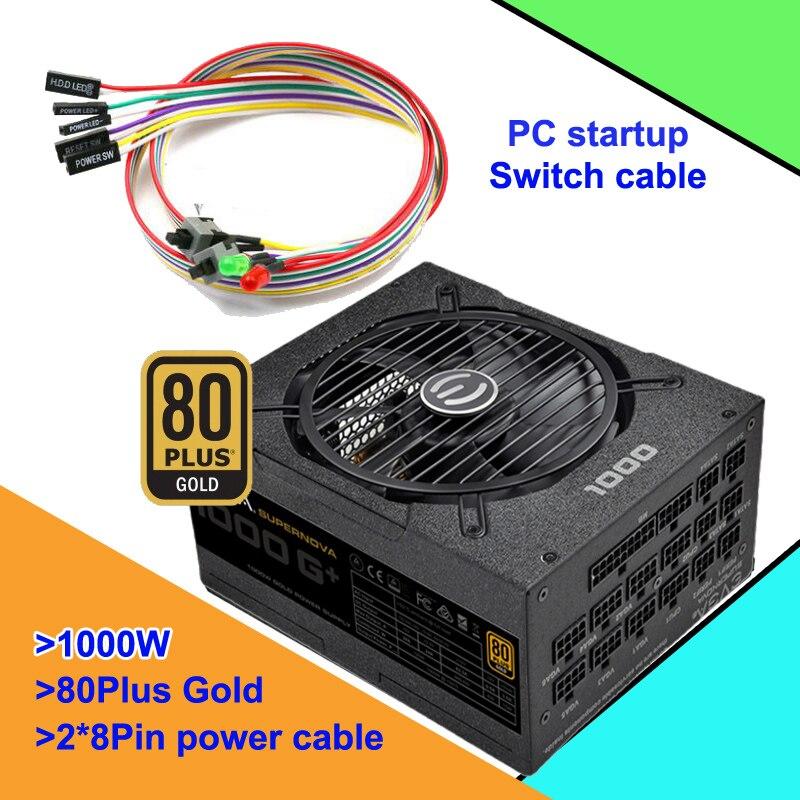 80Plus الذهبي 1000 واط PSU PFC نشط صامتة وحدة امدادات الطاقة وحدات كاملة 100 فولت-240 فولت الكمبيوتر التبديل كابل 3 سنوات الضمان