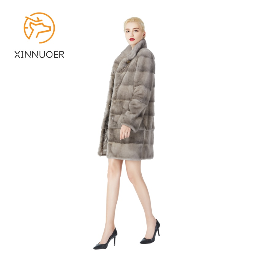 معطف فرو حقيقي مصنوع من المنك الطبيعي ، وسترات نسائية تحافظ على الدفء في الشتاء ، والموضة يسمح لك بضبط طول الأكمام.