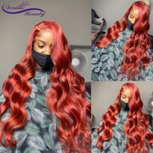 Red Color Body Wave Lace Front Wig Human Hair Wigs 220% Brazilian PrePlucked Wave Remy Hair Wigs For