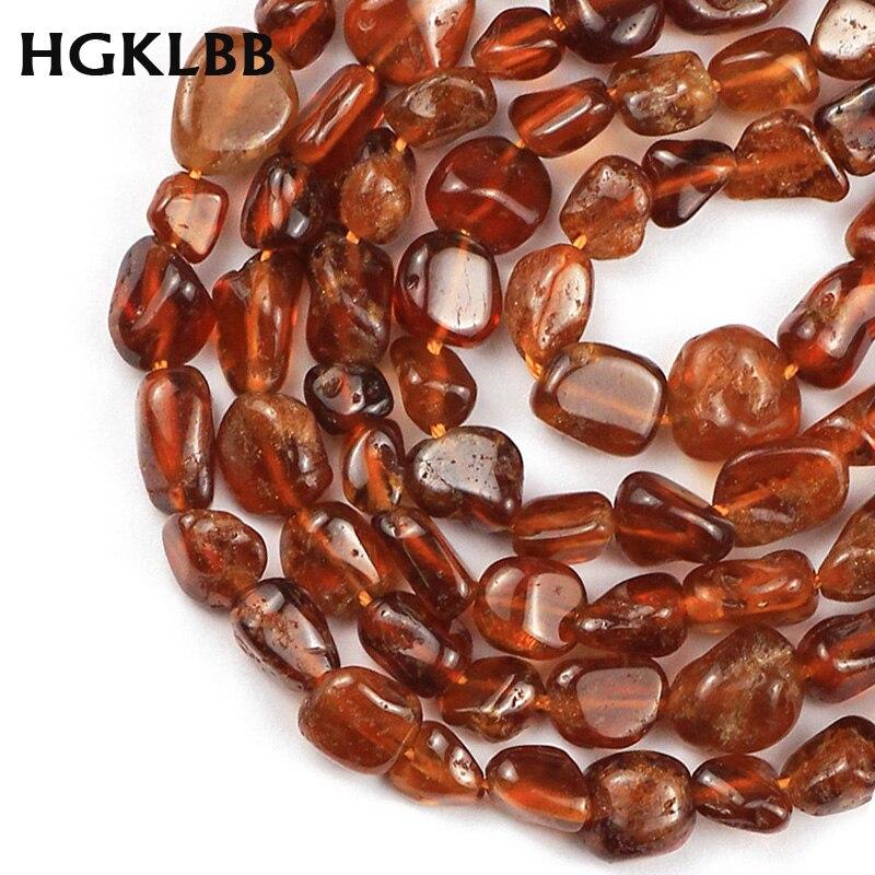 HGKLBB Natural Stone beads Irregular Orange garnet Gravel 4~8mm spacers Loose beads for Jewelry making bracelets necklace DIY