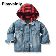 2021 New Boys Girls Jackets Baby Coats Blue Denim Casual hooded Kids Jackets for Boys Girls Kids Clo