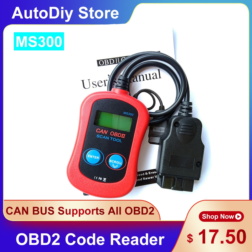 MS300 CAN BUS OBD2 رمز القارئ ماسح الرادار الخاص بالسيارة قراءة مشاكل واضحة دعم جميع البروتوكولات 1996 و OBD2 إيقاف تشغيل تحقق ضوء المحرك