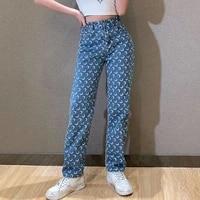 high waist women straight jeans mom moon print female denim trousers streetwear summer fashion pants harajuku y2k baggy jeans