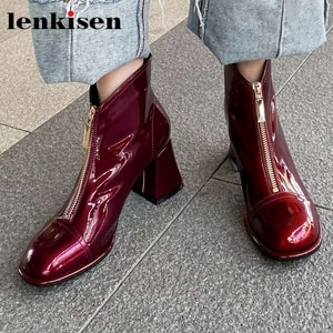 Lenkisen new autumn winter season round toe high heel winter shoes French romantic pretty girls dating charming ankle boots L06