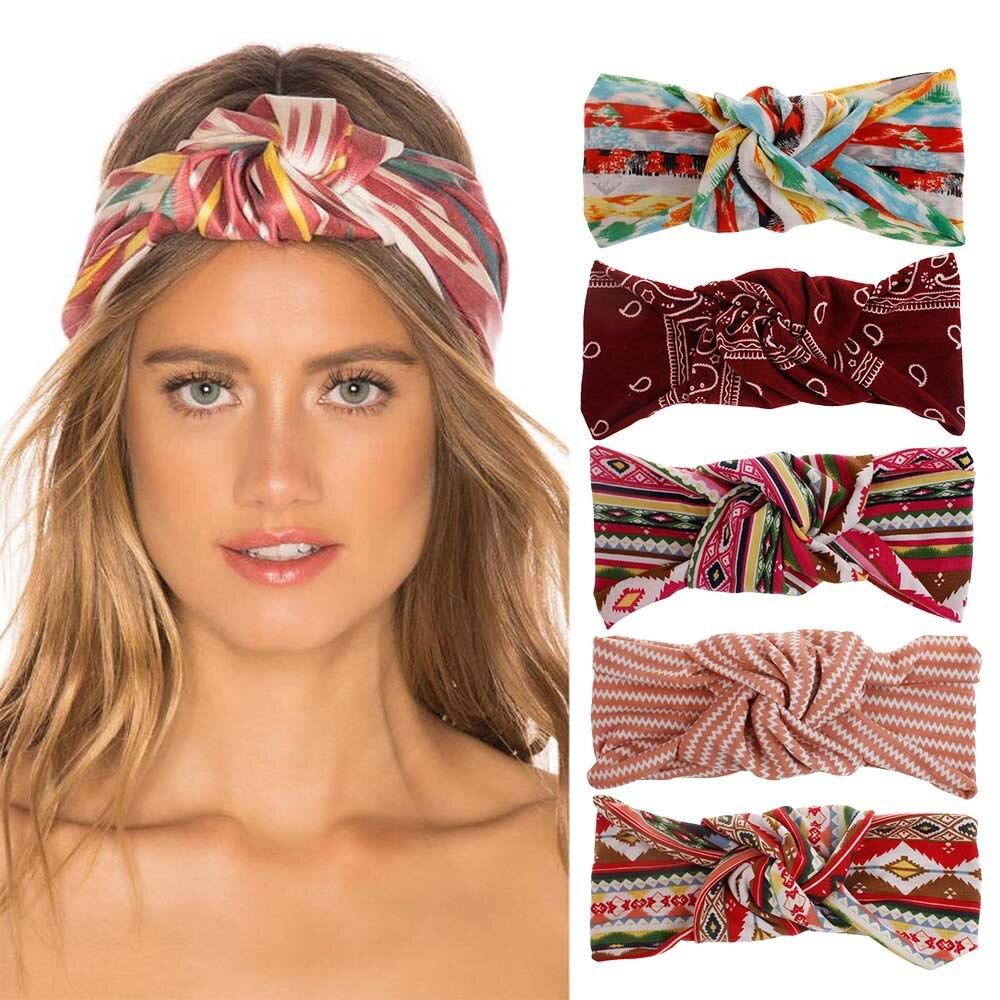¡Novedad de verano! Diadema con impresión de bandas para pelo para mujer, diademas bohemias, turbante, accesorios para el cabello
