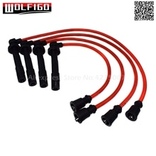 WOLFIGO Red Spark Plug Wires Set 10.2MM Silicone Fit Mitsubishi Eagle Eclipse Talon 4G61 4G64 New