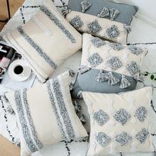 Ensemble de coussins à tuting géométriques 45*45cm   Couverture de coussin arrière, style nordique, taie doreiller, décorations de noël, pour maison