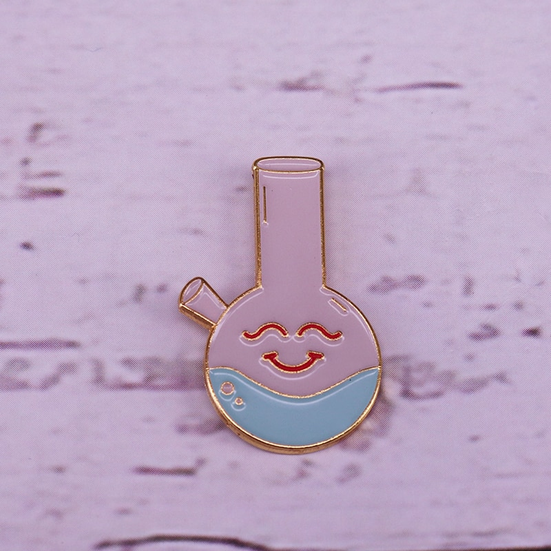 Broche químico con forma de botella con forma de cara sonriente, regalos para experimentos de laboratorio de química y Ciencia