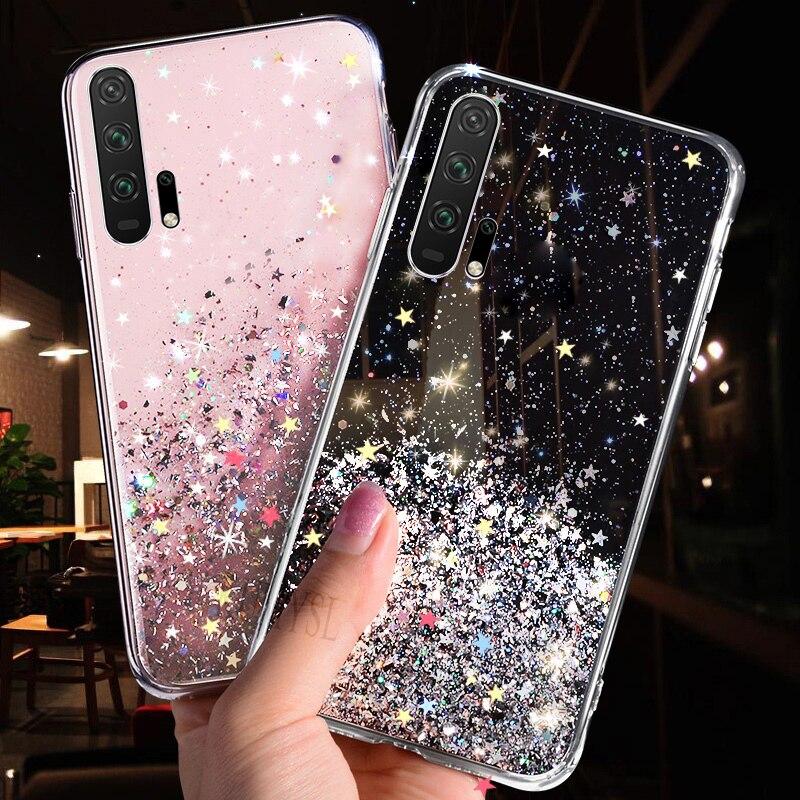TPU transparente suave de la caja del teléfono para Huawei Mate 30 20 10 Pro P30 P20 Lite Honor 10i 20i 10 8C 8X 9X Pro P Smart 2019 Bling cubierta
