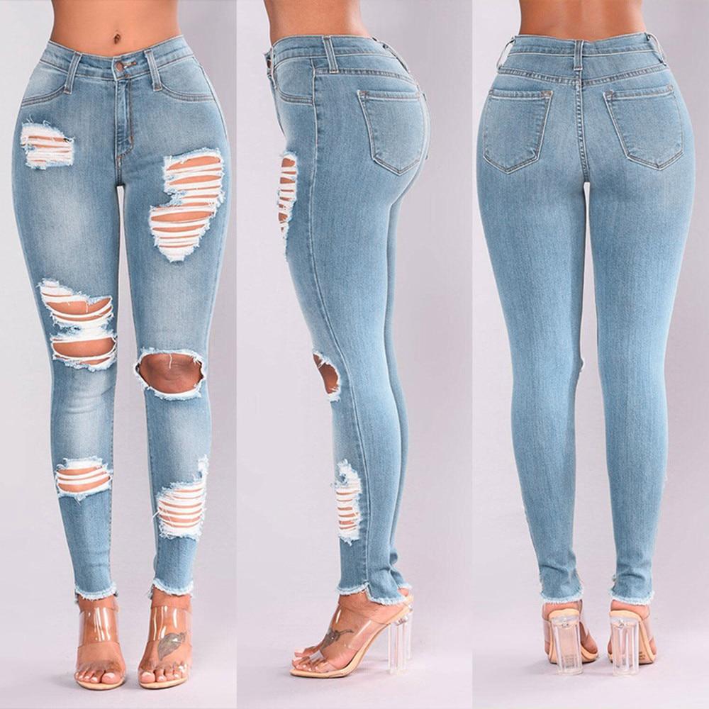 Женские джинсы, женские джинсы с высокой талией, модные женские джинсы, джинсы с дырками, женские эластичные облегающие пикантные брюки-кар...