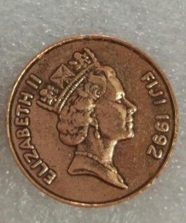 Fiyi, 100% moneda Original de 22MM, auténtica y Original