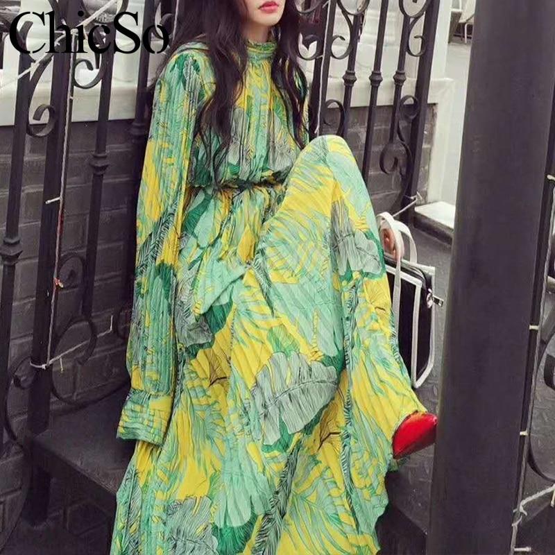 MissyChilli plissé en mousseline de soie florale à manches longues robe femmes élégant vert bohu robe festa femme printemps été fête robe de plage
