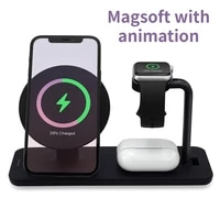 3 in 1 magsoft with animation 10w qi fast wireless charger stand for iphone12 watch charging dock station for iwatch