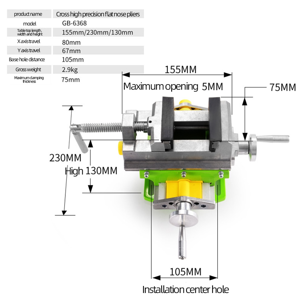 ALLSOME 3 Inch Cross Slide Vise Vice Table Mini Compoud Bench Precision Milling Machine Worktable HT2878 enlarge