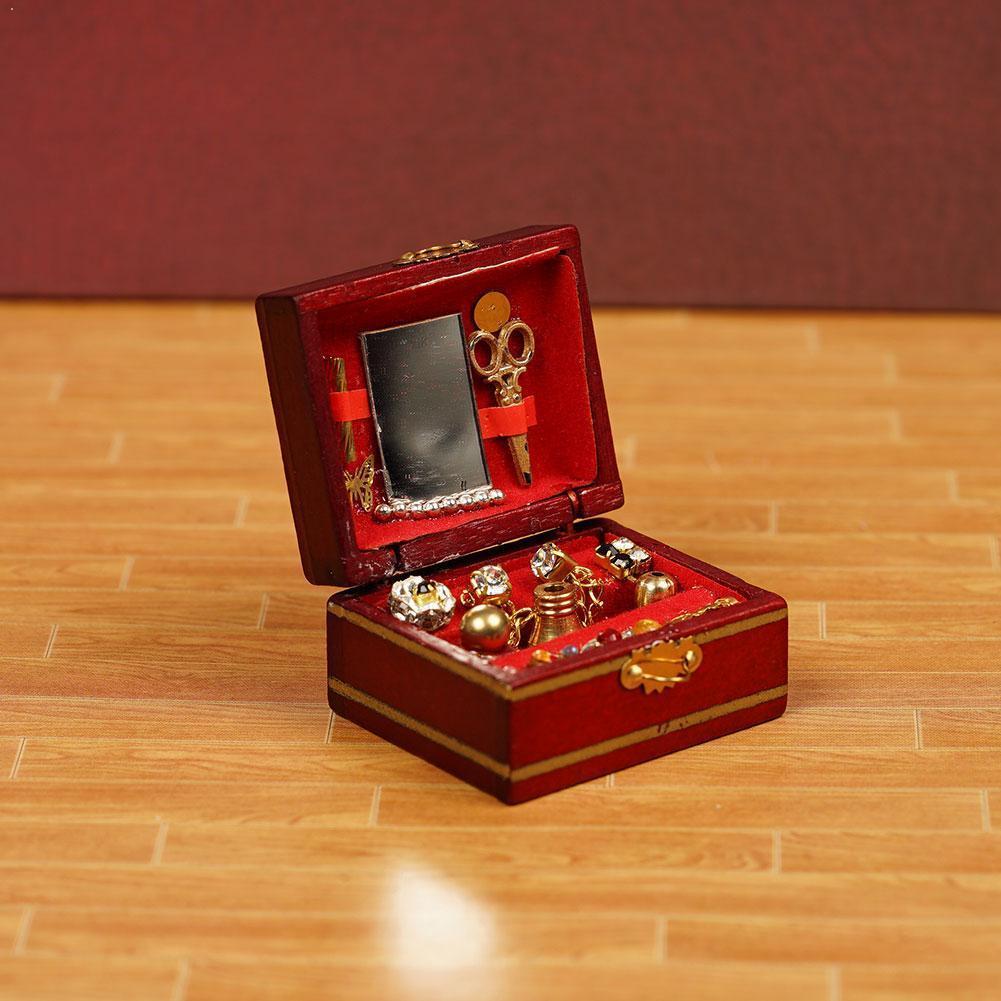 1/12 acessórios da casa de madeira mini jóias do vintage modelo de casa de bonecas cena caixa decoração modelo de casa de bonecas ornamentado t6u9