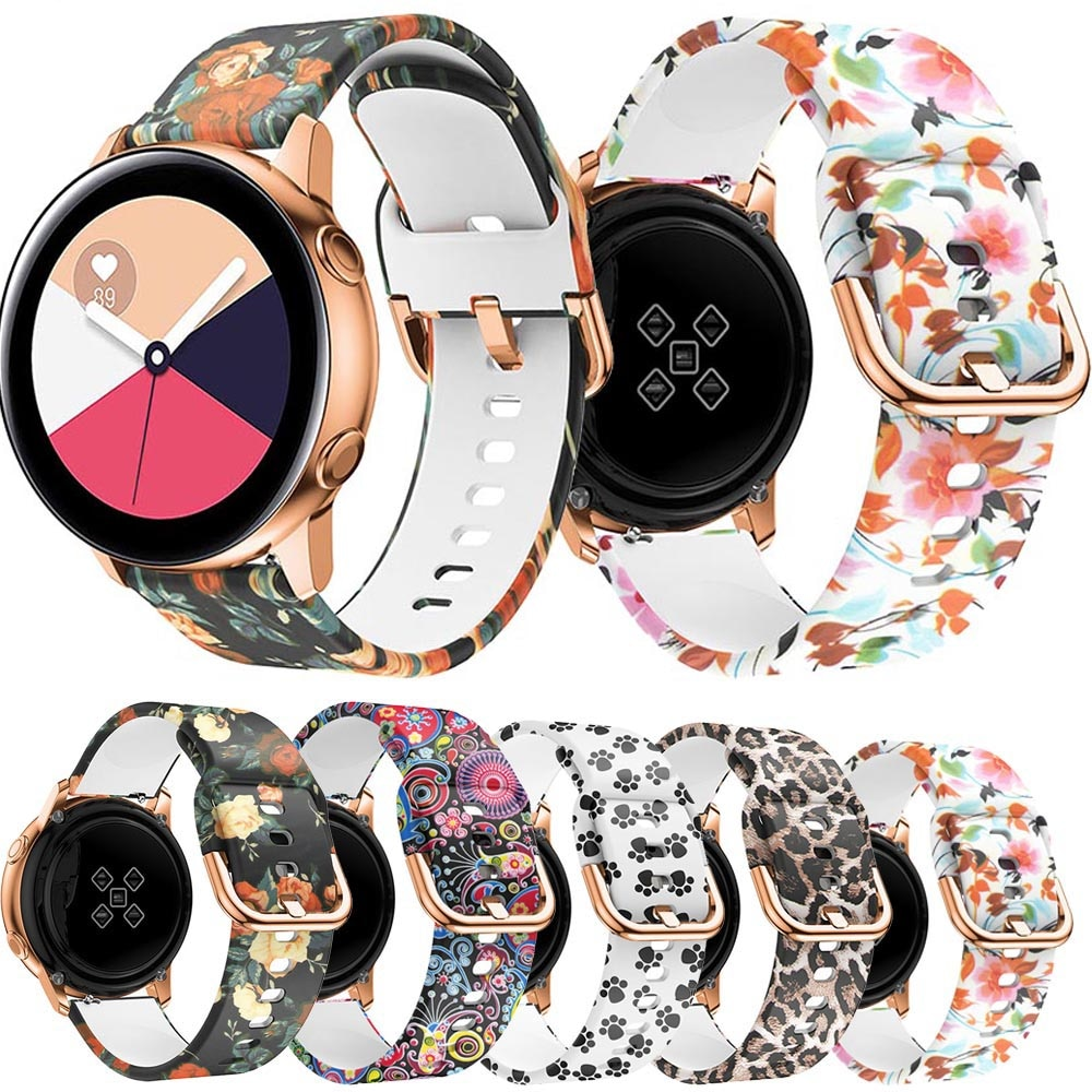 YAYUU 20mm 22mm Printing Silicone Watchband for Samsung Galaxy Watch Active 42mm Gear Sport S2 For Garmin Huawei amazfit Strap