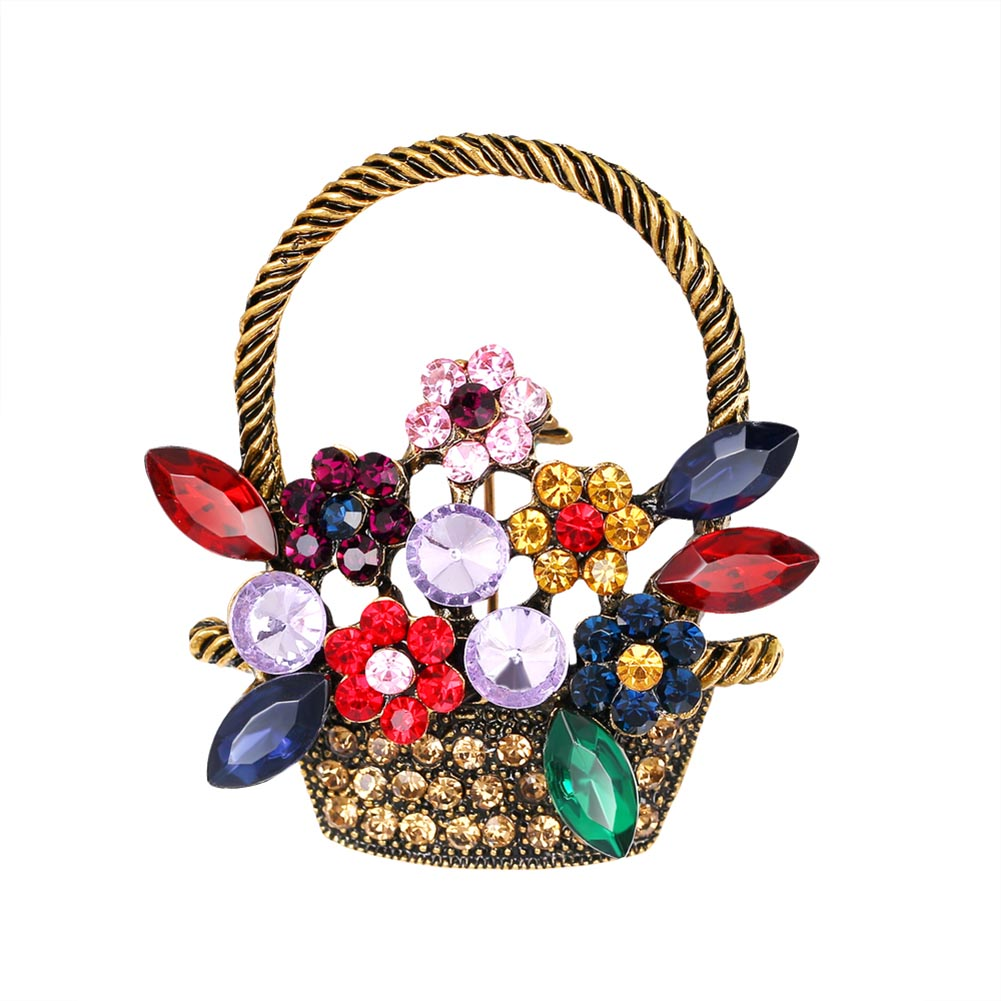 Broche de cesta de flores para mujer broches y broches de vestido de vacaciones de estilo Vintage