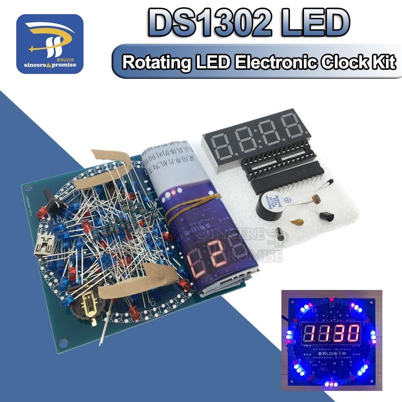 Rotativa display led alarme relógio eletrônico diy kit controle de luz temperatura ds1302 c8051 mcu módulo eletrônico stc15w408as