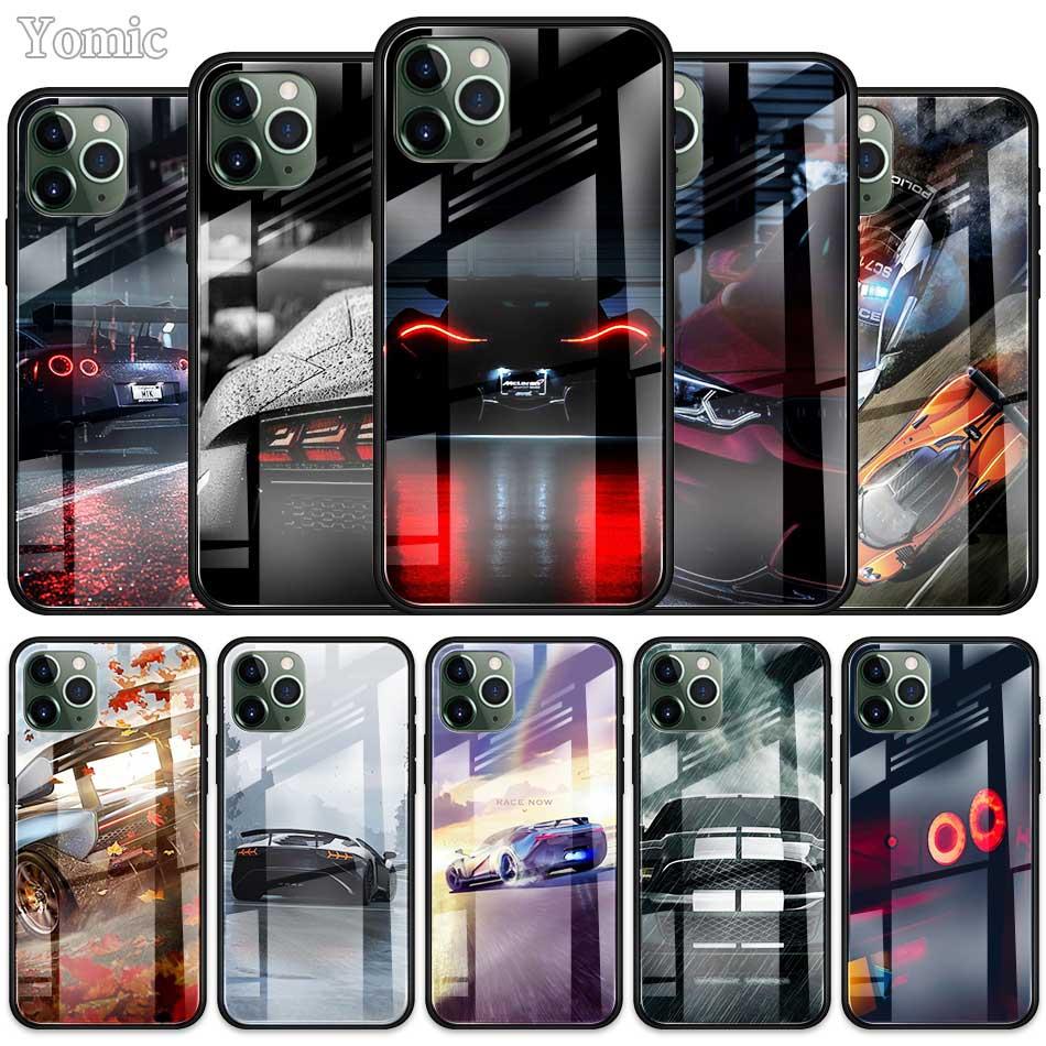 Genial, coche de los deportes de vidrio templado funda para iPhone de Apple 7 8 XR 11 Pro 6 6S Plus X XS X MAX SE 2020 cubierta del teléfono móvil de Edge