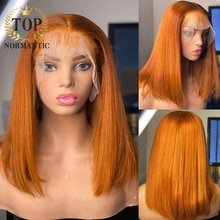 Topnormantic Ginger Color Straight Bob Wig Preplucked Hairline 4x4 Closure Indian Remy Human Hair Wi