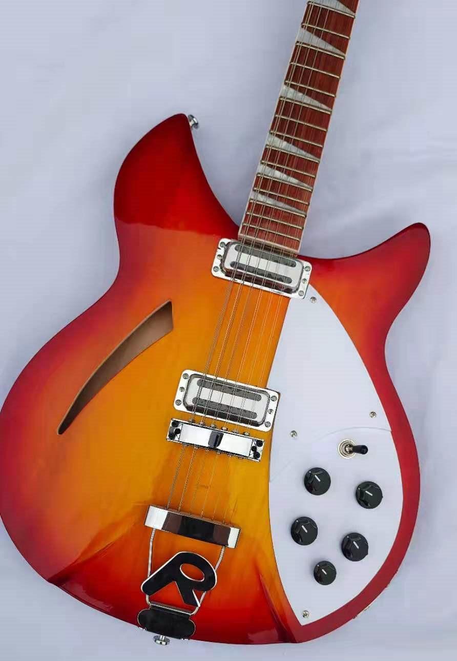 Guitarra eléctrica de 12 cuerdas Ricken 2019 cuerpo de ráfaga roja cereza...