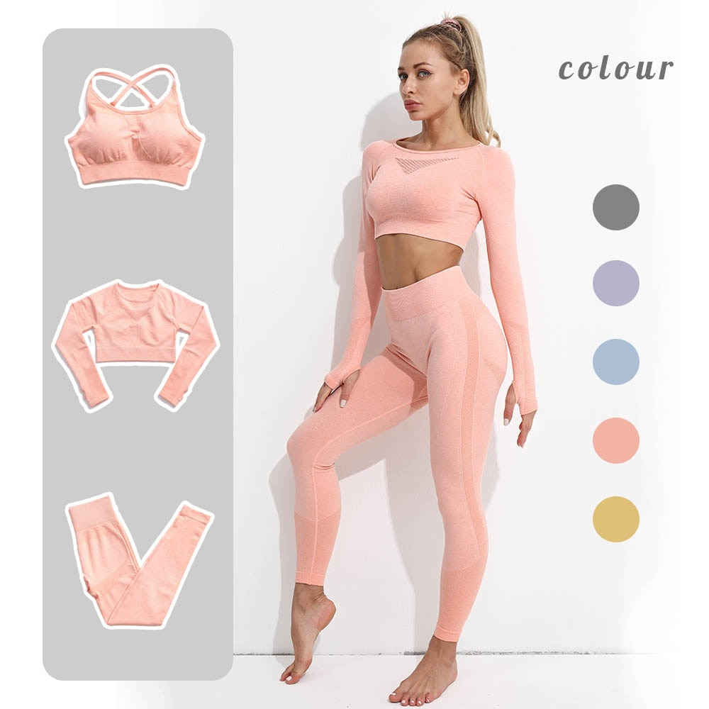 Seamless Leggings Women Fitness Yoga Set Ropa Deportiva Mujer Gym Clothing Track Suit High Waist Pan