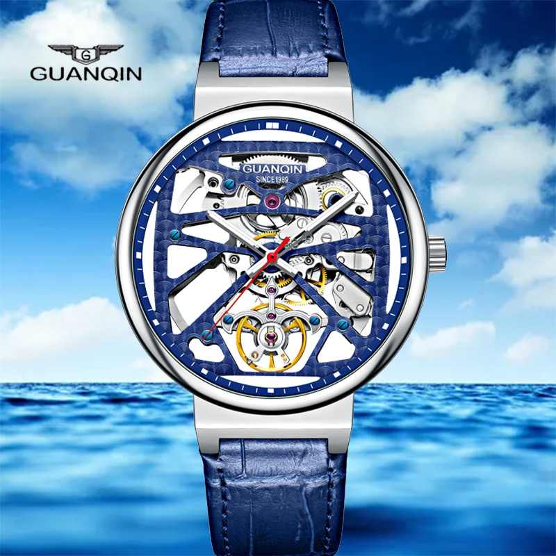 Relogio Masculino GUANQIN 2021new ساعة ميكانيكية ساعة أوتوماتيكية ساعة رجالي حاوية من الفولاذ المقاوم للصدأ الياقوت مقاوم للماء مضيئة
