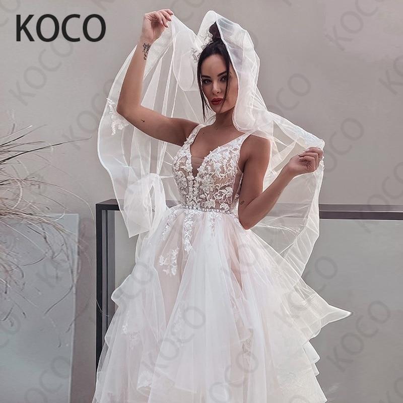 MACDUGAL-Vestido De Novia De tul con cuello en V para mujer, traje...