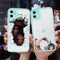 attack on titan phone case for iphone 12 11 mini pro xr xs max 7 8 plus x matte transparent blue back cover
