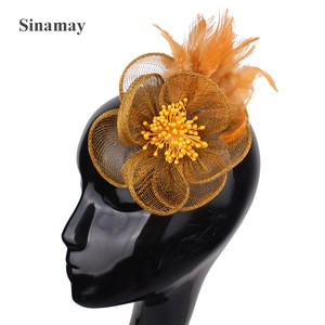 Charming Sinamay Hair Accessories Fascinator Headwear Elegant Colorful Mesh Feather Flower Party Show Millinery Cocktail New