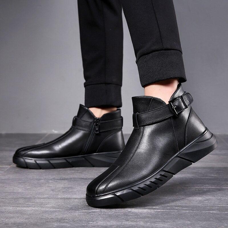 حذاء جلد البقر الأصلي للرجال ، حذاء كاجوال على الطراز البريطاني ، سميك ، بسحاب جانبي ، أسود ، كعب منخفض