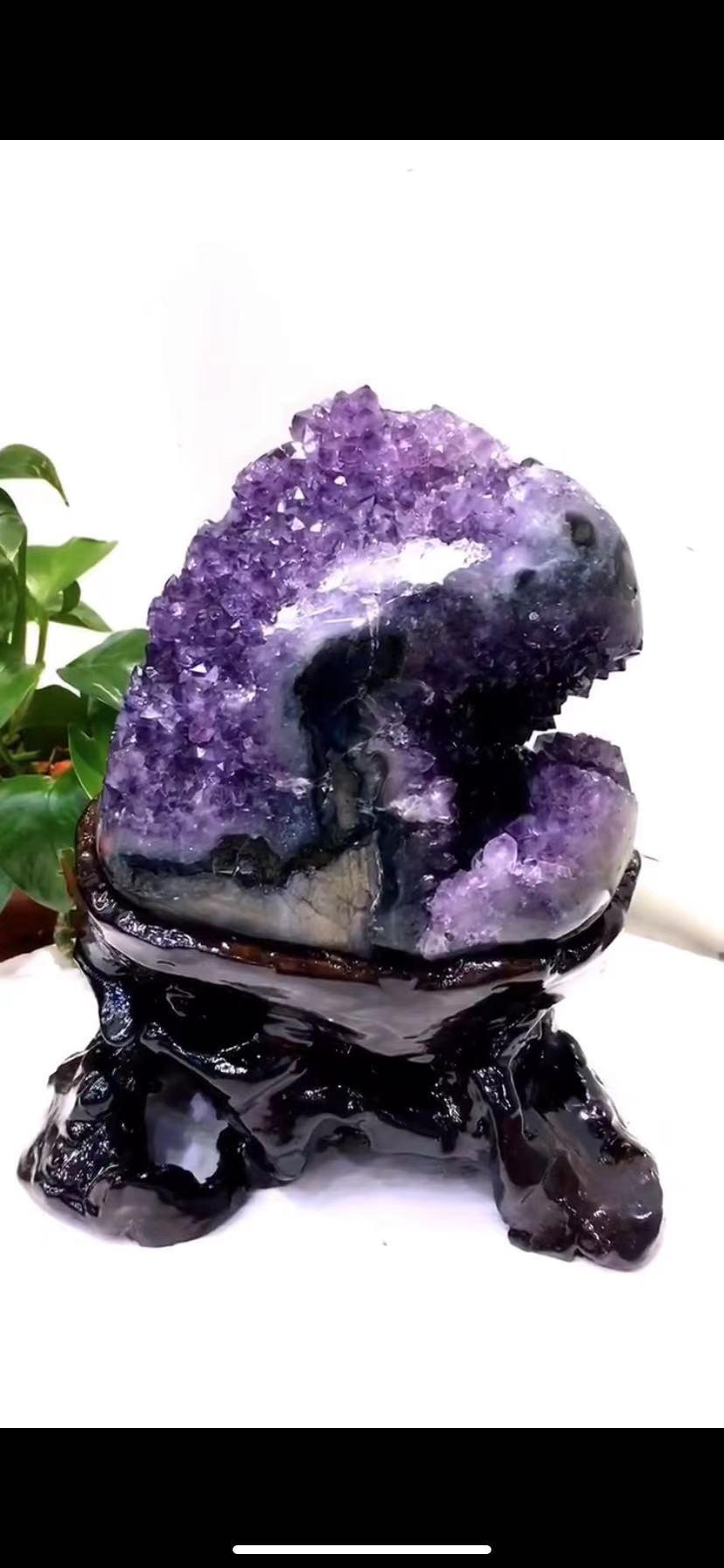 حجر الجمشت الطبيعي الكهف الأصلي الحلي حجر الجمشت كهف الجمشت العنقودية المفصل مكتب المنزل degaussing الحلي
