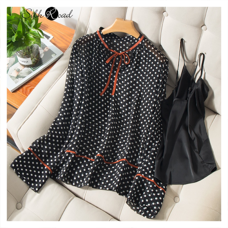 Silviye шелковая верхняя одежда с длинным рукавом и принтом в горошек на шнуровке контрастных цветов, женская дизайнерская Молодежная рубашка ...