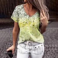 2021 summer tie dye print t shirt women short sleeve v neck plus size tops casual loose streetwear office lady tee shirt