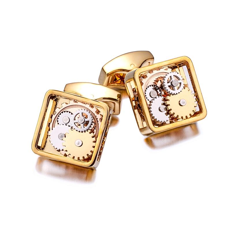 KFLK Luxury Shirt Gift Cufflinks for Mens gift Brand Wedding Cuff links Mechanical gear Button Custom male High Quality