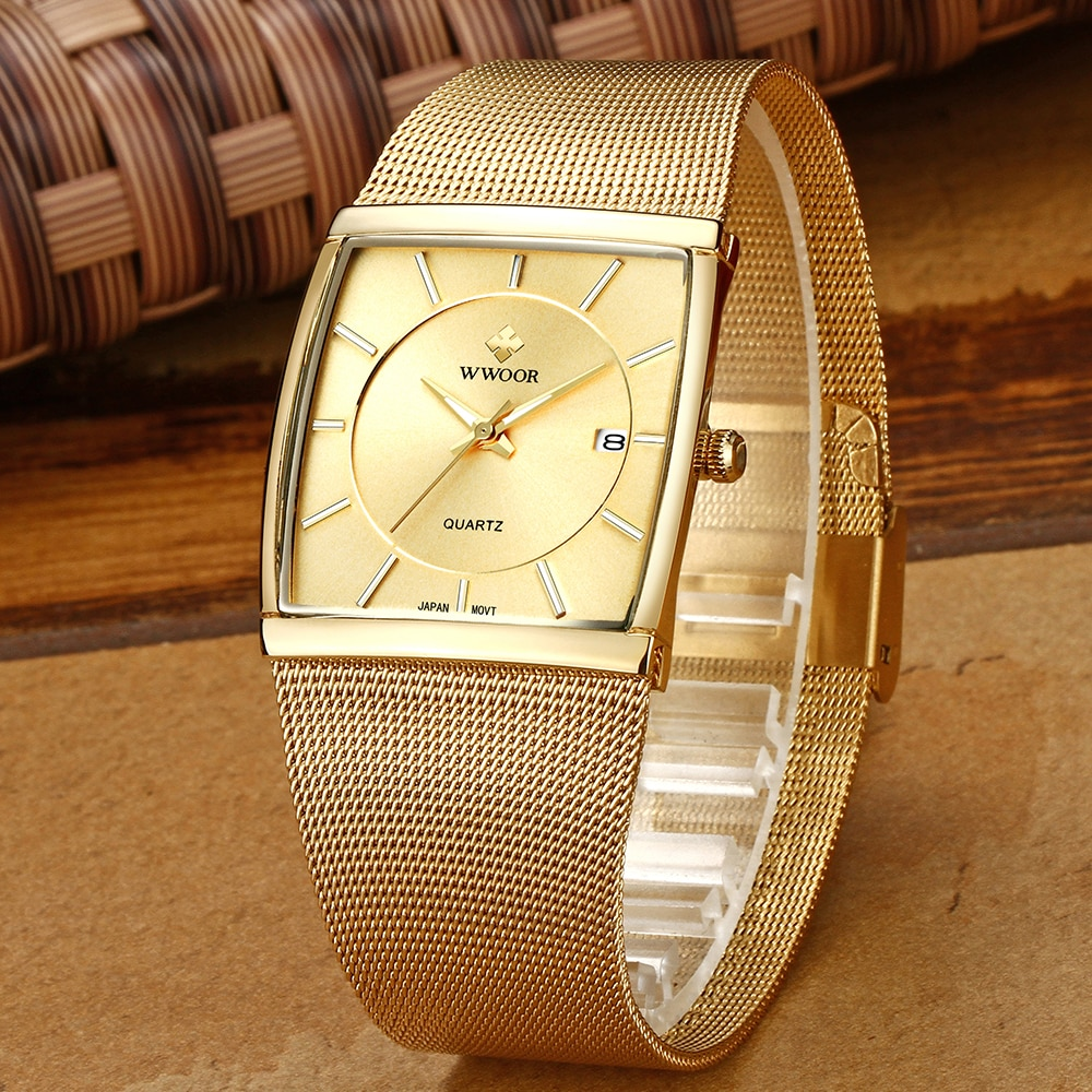 2021 WWOOR Sports Watches for Men Top Brand Luxury Full Gold Military Male Wrist Watches Mens Waterproof Date Clock Reloj Hombre
