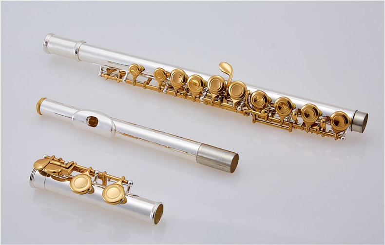 YF-471S Free Shipping Student Flute Type Small Elbow The 16 Key Hole Openings C Flute Silver Body Gold Keys Instrument Flauta enlarge