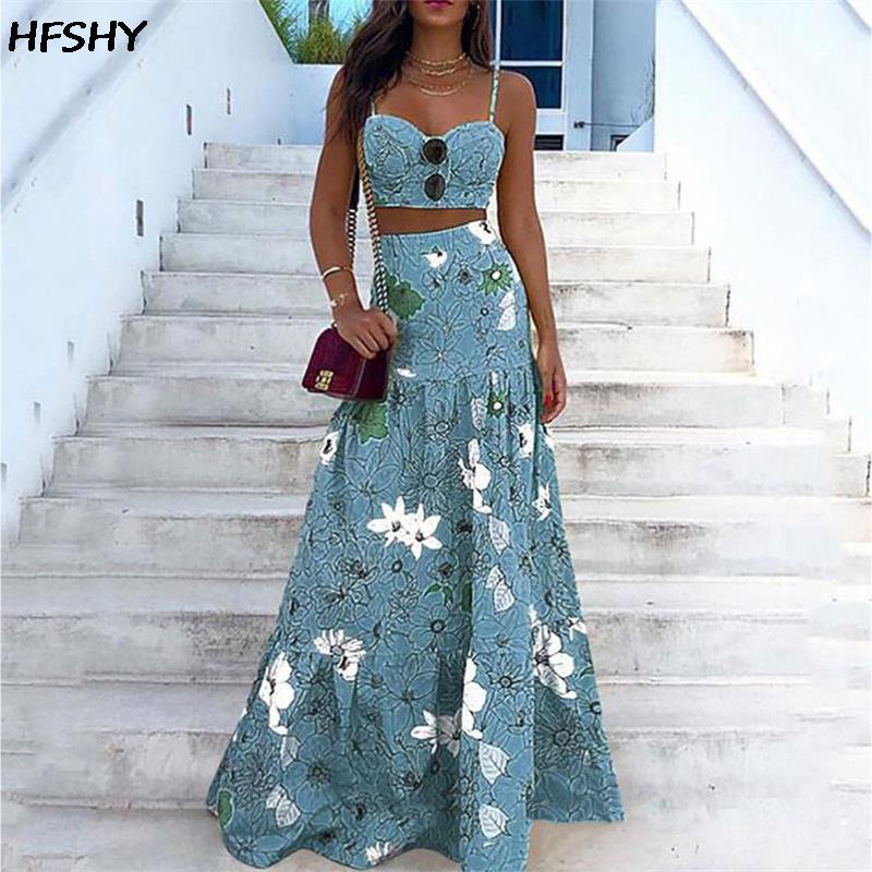 Vestido de verano de dos piezas con bordado Floral para mujer, conjunto de dos piezas, con pecho envuelto, cintura elástica, para baile de graduación, 2021