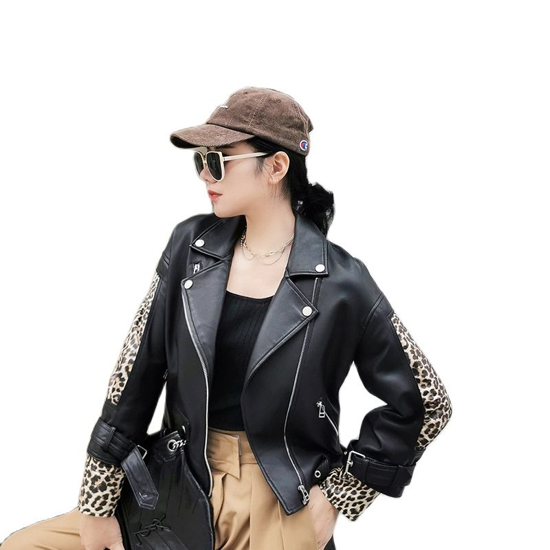 women's Sheep Leather jackets women's Spliced Panther Sleeve leather coats Locomotive Leisure real leather jackets moto jacket