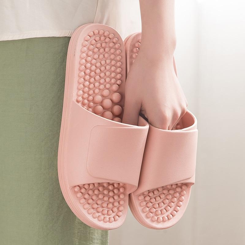 Four Season Female Massage Slippers Bottom Foot Acupoint Massaging Soft PVC Flip Flop For Men Indoor Home Bathing Non-Slip