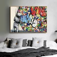 banksy art kids lover behind the curtain canvas paintings on the wall street art posters and prints cuadro pictures home decor