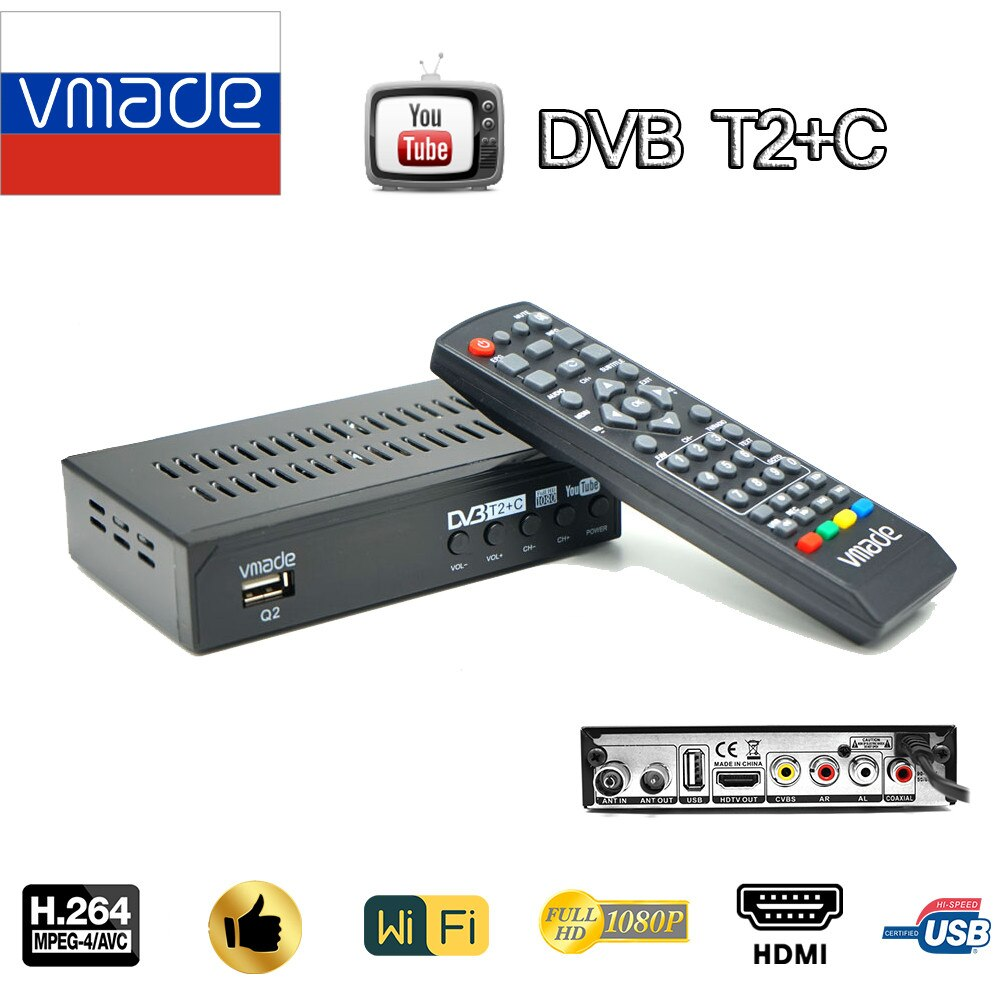 Vmade DVB T2+C Terrestrial Receiver H.264 decoder Digital Set Top Box DVB T2 HD 1080P support WIFI Youtube DVB T2 TV Tuner DVB C недорого