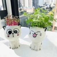 1pcs mini cat shaped ceramic flowerpot cartoon cute hand diy desktop potted desk decorate small ornaments pots for plants