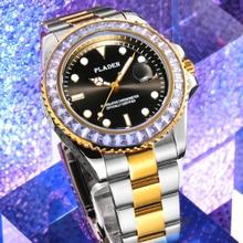 PLADEN Luminous Wristwatch Glow 2020 Male Calendar Luxury Diamond Clocks Seiko Stainless Steel Origi