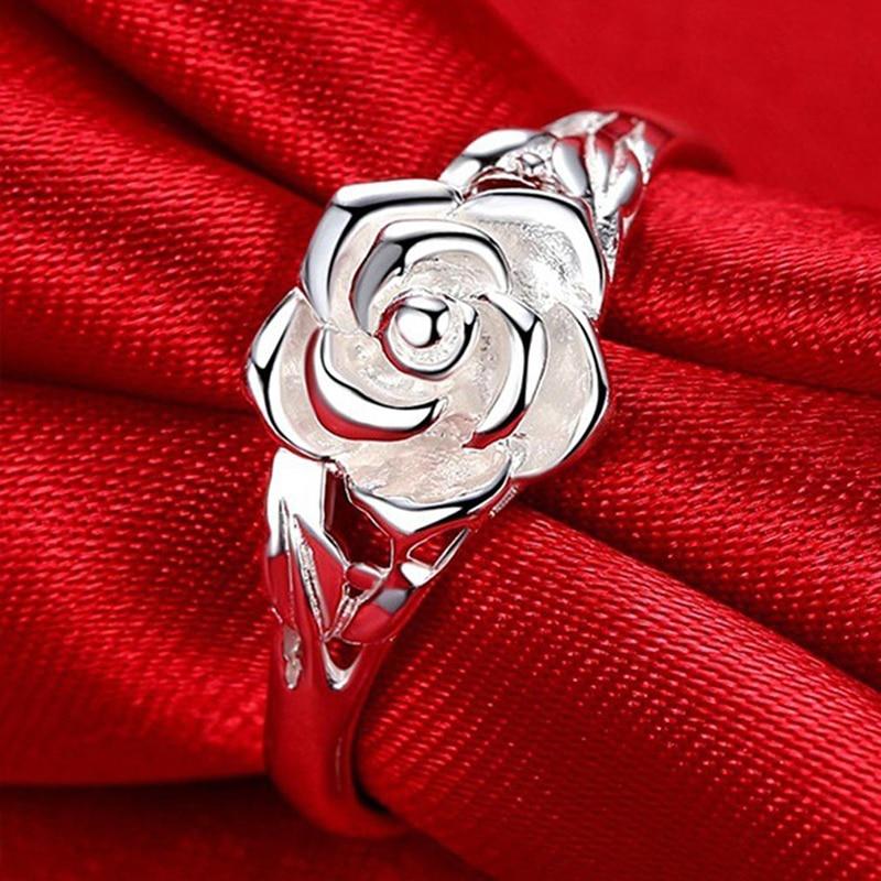 Élégant Placage En Forme De Rose Femmes Anneaux Rétro Lensemble Rose Fleur Usine Vente Directe En Gros Lots et En Vrac Femmes Anneaux