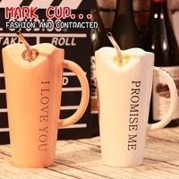 creative water cup large capacity with spoon straw ceramic ins mug simple couple student cup pair
