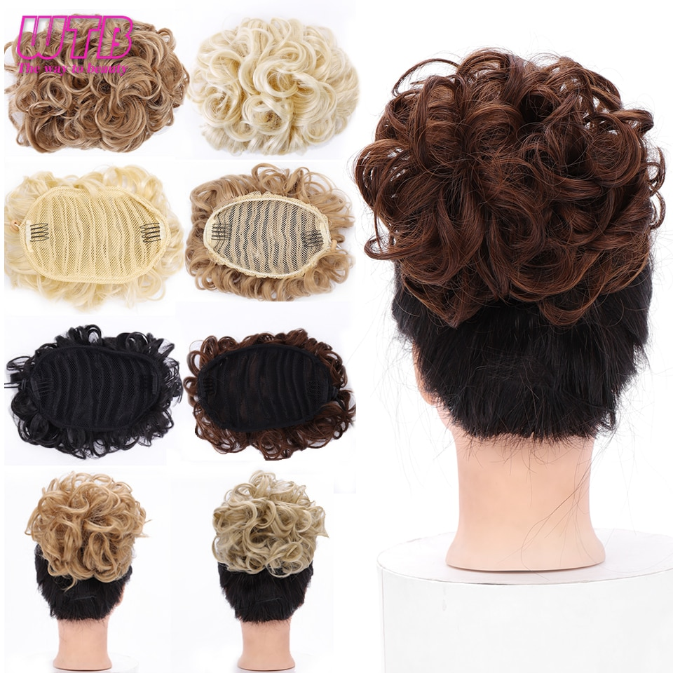 WTB 8 צבעים קצר מתולתל סינטטי פקעת נשים של גומייה מסרק קליפ שיער הארכת פאה אבזרים