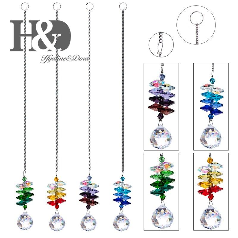 H&D 4pcs/set Hanging Crystal Prisms 20mm Clear Balls Pendants Sun catchers Healing Fengshui Rainbow Makers Pendants Home Decor