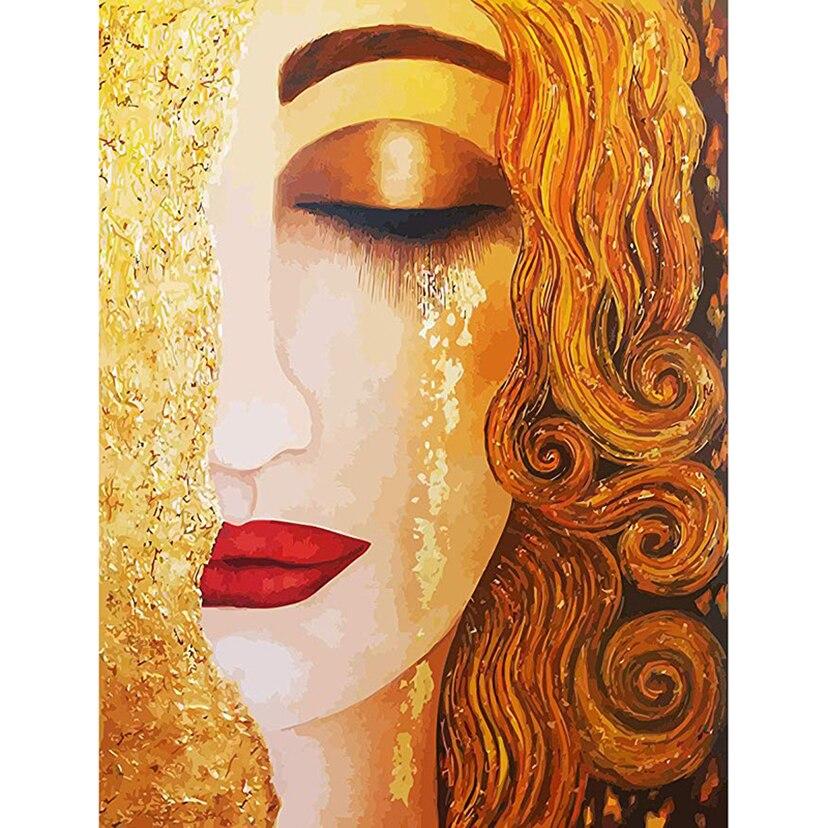 5D DIY Diamond Painting Cross Stitch Kits Golden tear girl by Klimt Diamond Embroidery Patterns Pictures of Rhinestones WG1248